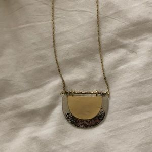 LOFT Silver and Gold half circle necklace